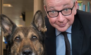 Michael Gove with police dog Finn