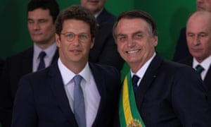 President Jair Bolsonaro, right, with the environment minister, Ricardo Salles.
