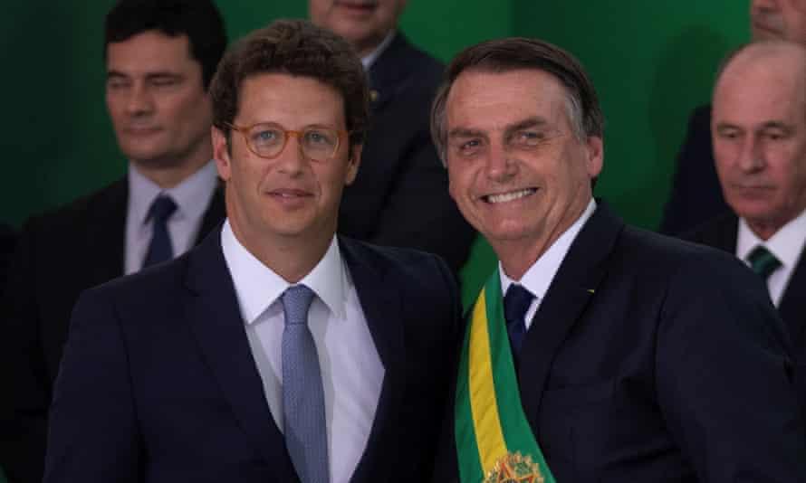 President Jair Bolsonaro, right, with the environment minister, Ricardo Salles.