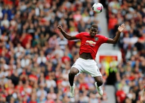 Manchester United's Paul Pogba rises for a header as United beat Chelsea 4-0 at Old Trafford.