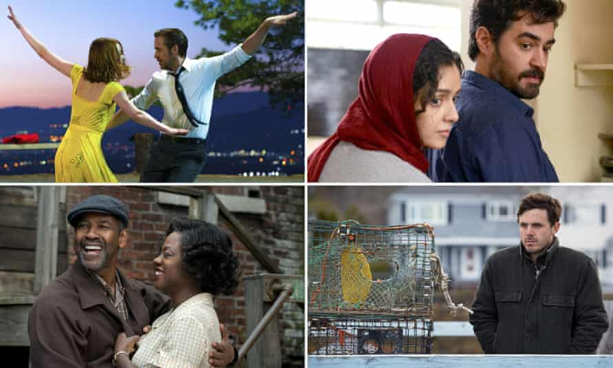 Winners' circle … clockwise from top left, La La Land, The Salesman, Fences and Manchester By the Sea.