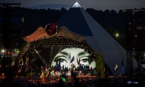 Adele headlining at Glastonbury in 2016.