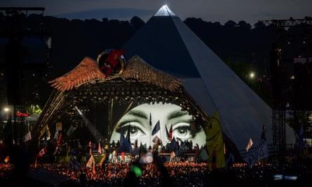 Adele performing at Glastonbury, 25 June 2016.