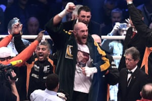 Tyson Fury celebrates after getting the decision.