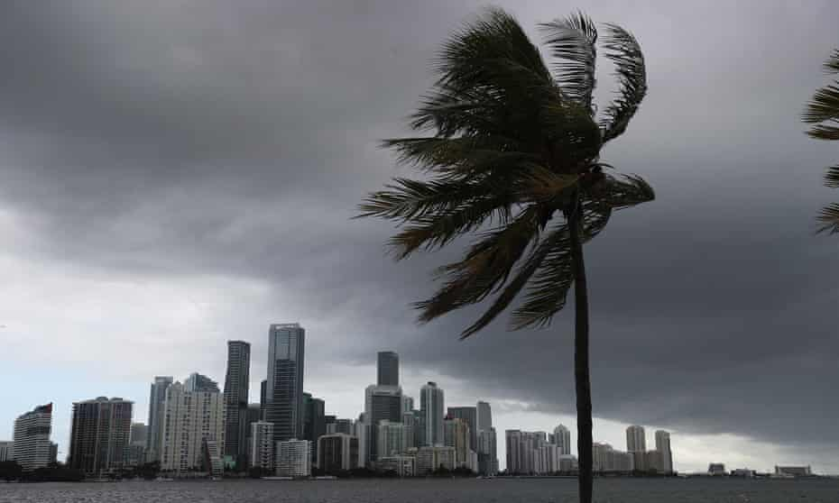 Storm clouds are seen over Miami as Hurricane Isaias approaches the east coast of Florida on Saturday.