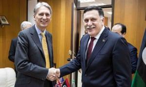 Philip Hammond and Fayez al-Sarraj
