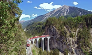 Train of the Rhaetian Railway on the Landwasser viaduct in Switzerland