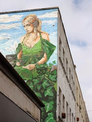 Green Caerphilly GoddessA green Caerphilly Goddess covered in vines in the town centre of Caerphilly in Wales Photograph: Shaheen Allotment-Kitchen/GuardianWitness