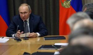 Vladimir Putin during a meeting in Sochi.