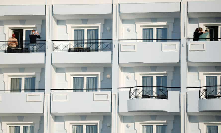 Tourists on balconies