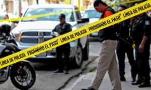 A crime scene in Guadalajara, Mexico, November 2019