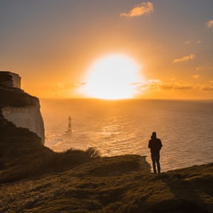 By Lewis Hanson. Beachy Head, Eastbourne. Packing up at the end of a sunrise shoot, I decided to keep my camera in hand for the walk back, I'm glad I did, I saw my friend looking out to sea, deep in contemplation.