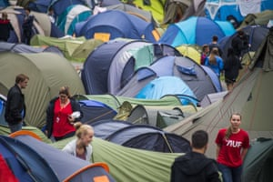 Members set up their tents for the first summer camp session since the 2011 attack by Anders Behring Breivik when he killed 69 people