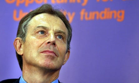Tony Blair waits to deliver a speech on university top-up fees in January 2004