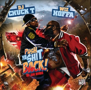 DJ Chuck T and Wiz Hoffa - Push Ya Shit Back – Def Jam Divided – Design by Miami Kaos. Miami Kaos in his most brutal mood. While interviewing him we soon discovered his deep Christian faith, to our surprise as he's the one by far that draws up explicit scenery. In this one a bare-bellied Rick Ross smashes Young Jeezy's heart through his back. The level of detail is stunning, the light, the tattoos, the composition. A great example of why Miami Kaos is the legend that he is