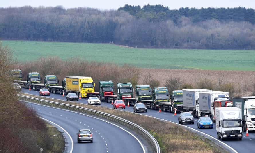 A line of lorries on a road in Kent