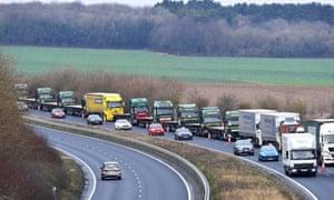 lorries on road in Kent