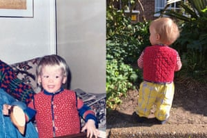 Roman (right) in the waistcoat worn by his dad (left).