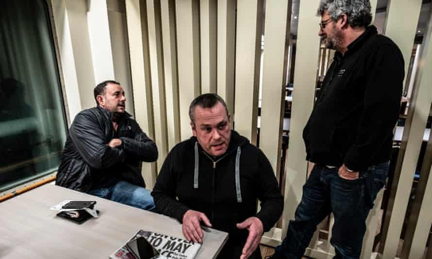 Dominic Salvatori, Jon Slack and Simon Wilkinson on a ferry