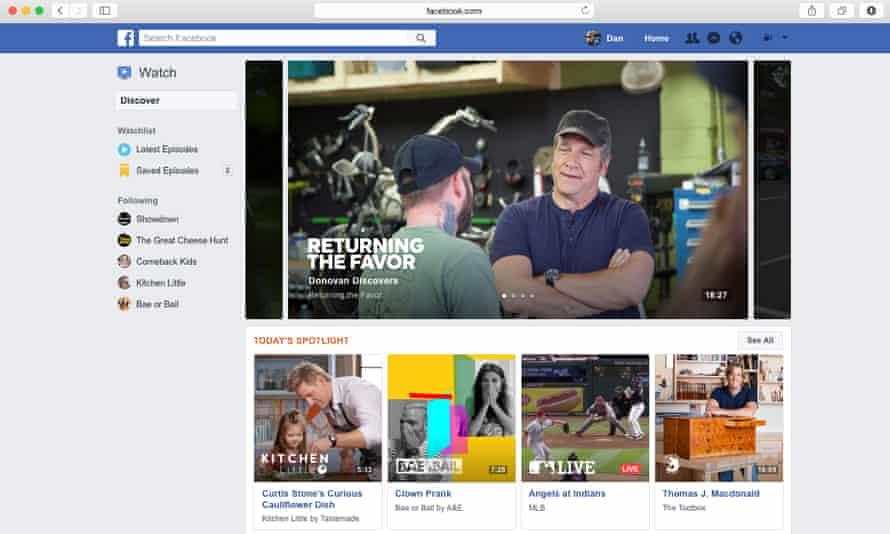 A screenshot of Facebook's new feature Watch.