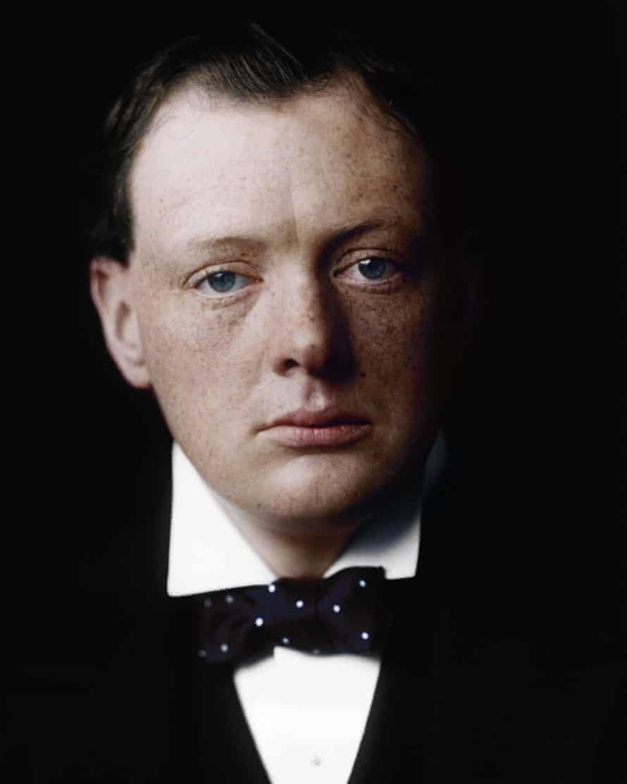 The Conservative politician and war-time leader Sir Winston Churchill (1874-1965) as a young man: black and white image coloured by artist Marina Amaral