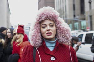 New York, USA: Actress Rose McGowan, who has accused Harvey Weinstein of rape, attends a press conference outside the court where the producer is being tried