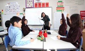 Pupils in classroom raising hands to answer question