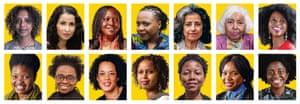 Composite of authors from Gary Younge feature on reading African women: top row from left: Maaza Mengiste, Laila Lalami, Doreen Baingana, Lola Shoneyin, Ahdaf Soueif, Nawal El Saadawi and Imbolo Mbue. Bottom row from left: Chibundu Onuzo, Jennifer Nansubuga Makumbi, Aminatta Forna, Nadifa Mohamed, NoViolet Bulawayo, Ayobami Adebayo and Yaa Gyasi