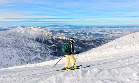 Skier in Zakopane, Poland.