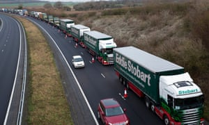 Lorries near Dover take part in the Department for Transport trial.