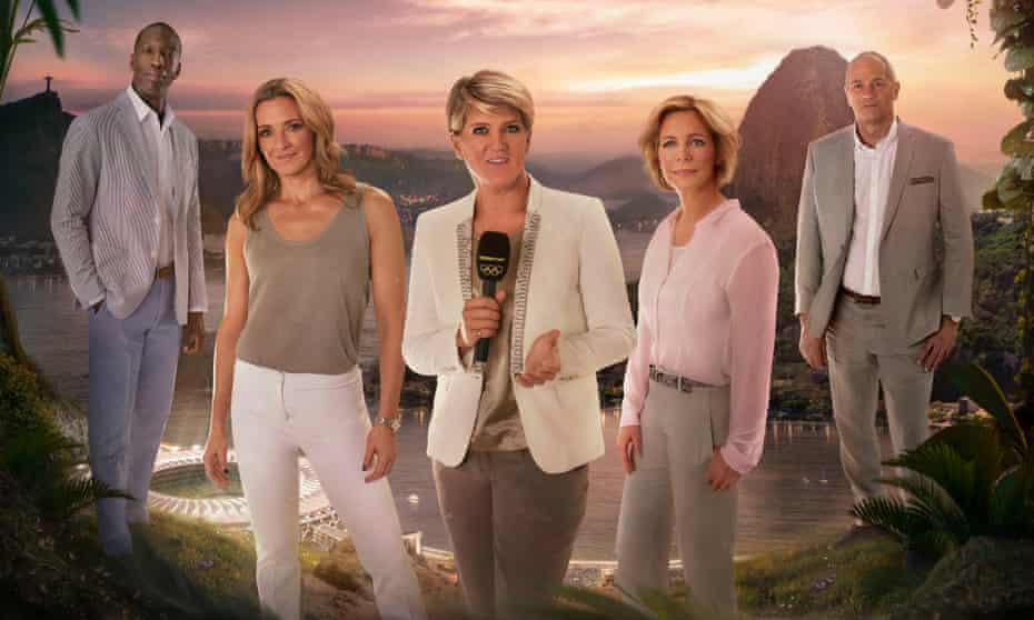 The BBC's Rio Olympics team: Michael Johnson, Gabby Logan, Clare Balding, Hazel Irvine and Sir Steve Redgrave.