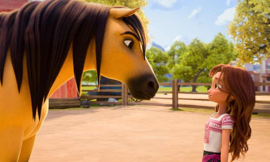 (from left) – Spirit and Lucky Prescott (Isabela Merced) in DreamWorks Animation's Spirit Untamed, directed by Elaine Bogan.