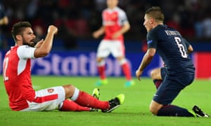 Arsenal's Olivier Giroud and Marco Verratti of PSG