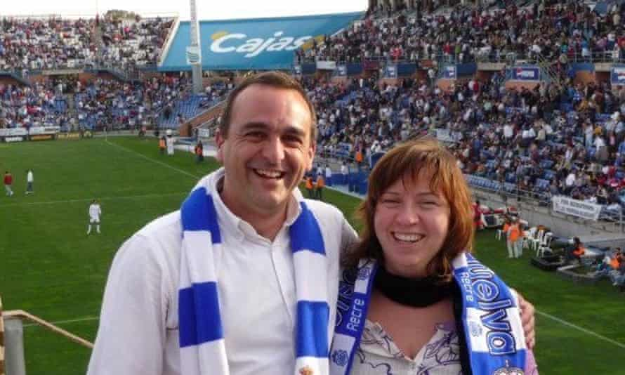 Narciso Rojas with friend Claire Sparks at the Estadio Nuevo Colombino