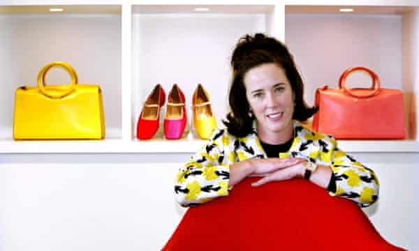 Kate Spade poses with handbags and shoes from her collection on 13 May 2004.