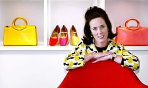 Kate Spade posing with her shoes and handbags in 2004