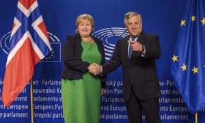 Erna Solberg, Norway's prime minister, is welcomed by Antonio Tajani, president of the European parliament, in Brussels.