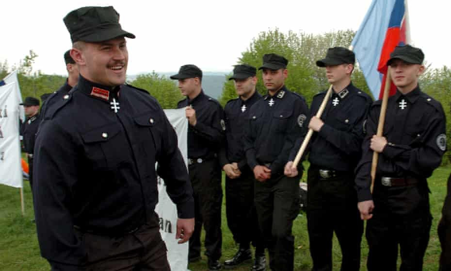 Marian Kotleba at a commemoration of the anniversary of the death of a Slovak general, in 2006.