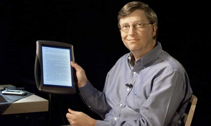 bill gates with an early windows tablet