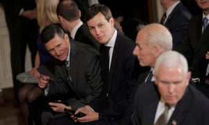 Michael Flynn, left, and Jared Kushner, second left, seen with John Kelly and Mike Pence, both face questions about their work in the White House without a full security clearance.