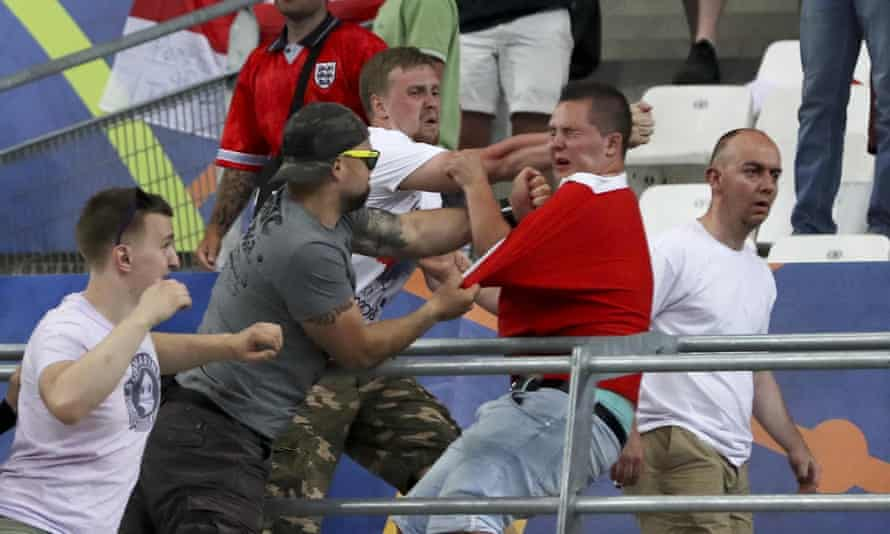 Clashes break out in the stands during the Euro 2016 Group B soccer match between England and Russia.