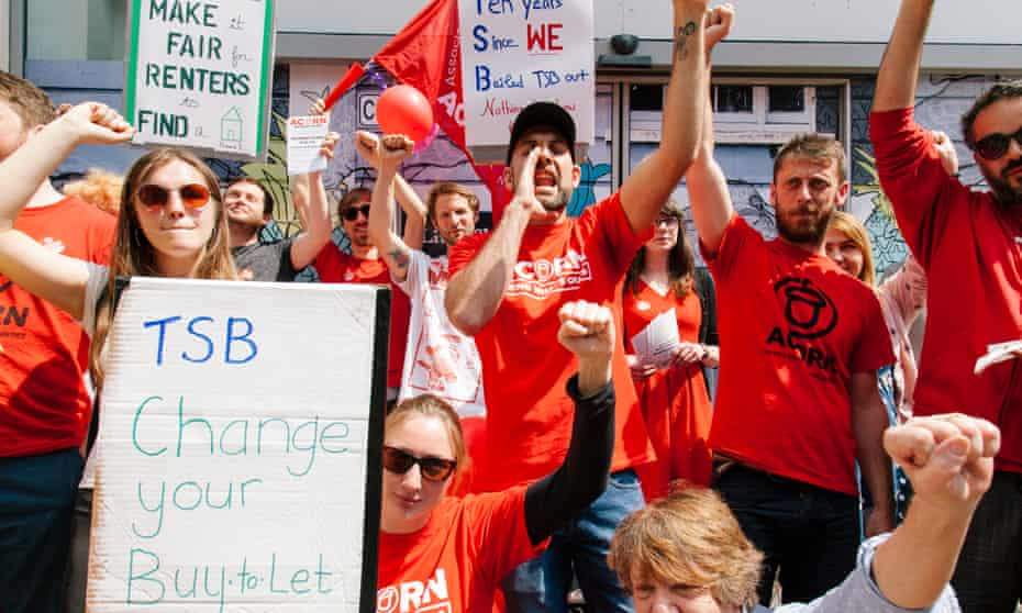 Taking action ... Acorn members stage their TSB protest.