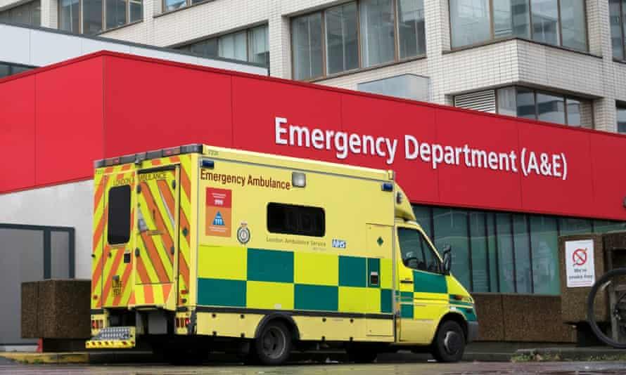Ambulances outside an A&E department in London.