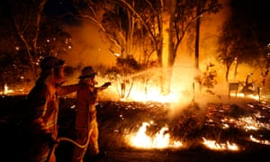 Firefighters attempt to extinguish a bushfire at the Windsor Downs nature reserve, near Sydney.