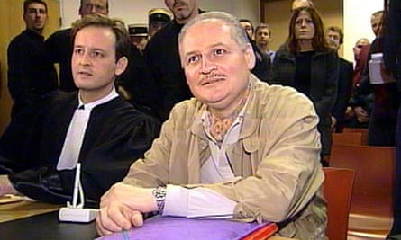 Ilich Ramirez Sanchez, known as Carlos the Jackal, right, sits next to his lawyer at his trial in Paris in 2000, where he was sentenced to life imprisonment.