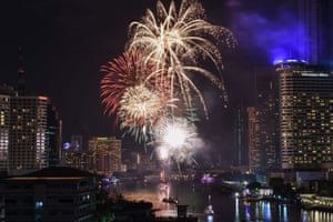 Fireworks over the Chao Phraya River in Bangkok