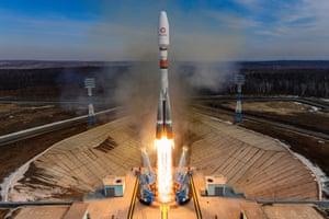 A Soyuz rocket blasts off from Vostochny, Russia