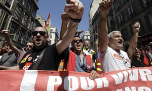 A protest march by rail workers and civil servants in Marseille late last month.