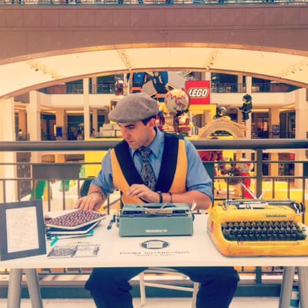 Poetry at the mall: '20% of all the people I wrote for in the mall wound up in tears'.