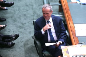 Bill Shorten jokes with his frontbench.